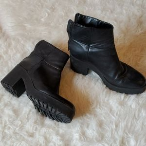 Black Zara Leather Moto Bootie